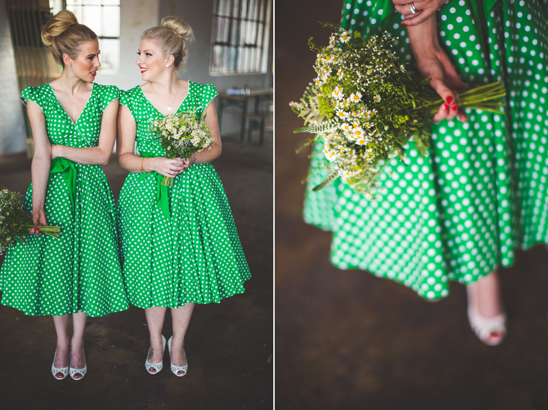 polkadot bridesmaid dress Camp and Furnace wedding in Liverpool