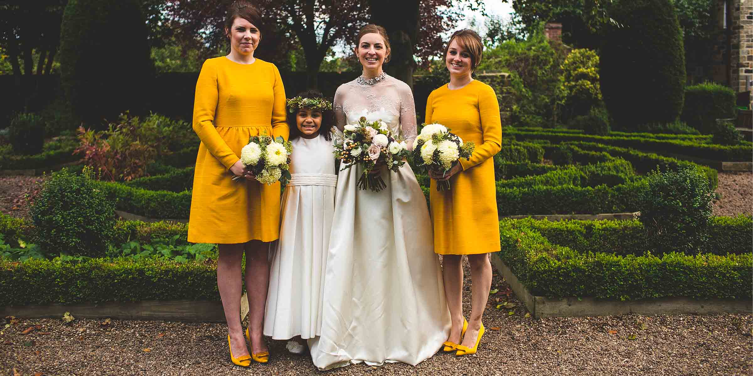 Autumn wedding photography in yorkshire gemma had her vintage yellow bridesmaids dresses made from old curtains to go with beautiful autumnal flowers from sheffield florist swallows and ombrellifo Choice Image
