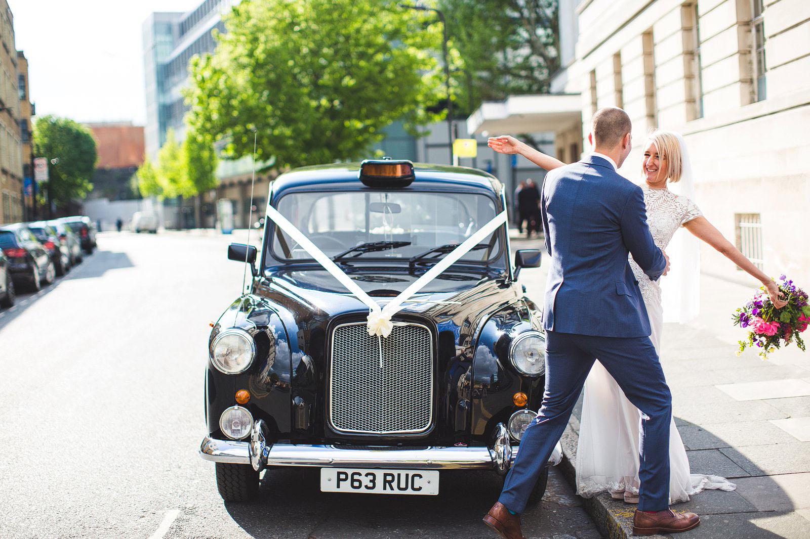 black cab London wedding