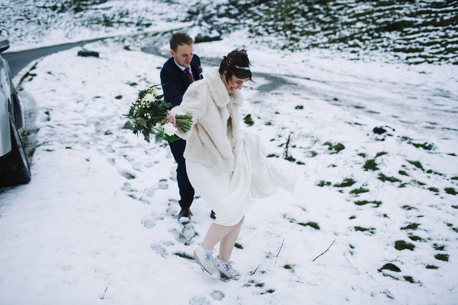 Losehill House Peak District winter wedding